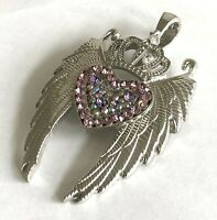 Vintage Huge Crown Pink Rhinestone Heart Silver Tone Pendant Chain Free Necklace