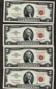 #4 Consecutive 1963 $2 Legal tender Notes, Gem Uncirculated, NICE!!
