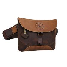 Vintage Men's Leather Hip Waist Bag Sport Shoulder Bag Chest Bag w/USB interface