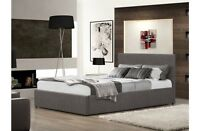 Fabric Grey, Wheat Or Chocolate Ottoman Storage Bed 4FT6 Double 5FT King