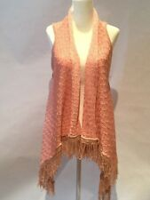 LISTICLE SWEATER VEST CARDIGAN WRAP PINK AND TAN FRINGE HEM SIZE S/M NWT