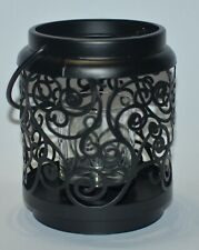 YANKEE CANDLE BLACK SCROLL LANTERN VOTIVE TEA LIGHT HOLDER SLEEVE GLASS METAL