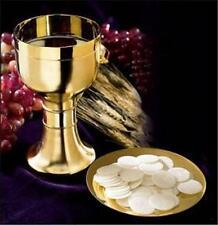 "Solid Brass w 24KT Gold Plating Catholic Altar Chalice Paten 6.75""H 14oz Gift"