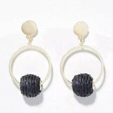 Ann Taylor LOFT Black Straw Ball Hoop Earrings