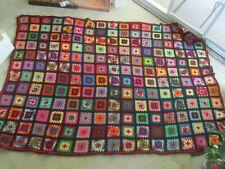 Gorgeous NOS Wool Afghan Granny Square Handmade Heavy Throw Vintage Blanket