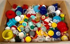 LOT OF OVER 600 ASSORTED SIZES & COLORS PLASTIC BOTTLE CAPS FOR CRAFTS
