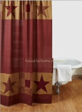 NINEPATCH STAR SHOWER CURTAIN : RED PLAID CABIN RUSTIC TAN BROWN