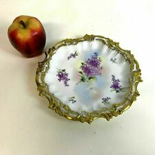 Antique Limoges Rococo Style Hand Painted Flower Gold Decorated Plate