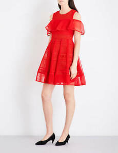 $495 Maje Red Polyester Mesh-Kint Embroidered  A-line Dress H17ROSALIE