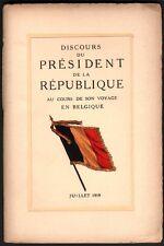 Poincaré Raymond. Discours au cours de son voyage en Belgique. 1919