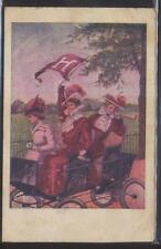 Postcard CAMBRIDGE MA HARVARD COLLEGE Cheerleader Girls in Early Automobile 1907