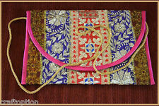 EMBROIDERED SILK PATCHWORK PURSE OF ANTIQUE RECYCLED DRESSES FROM INDIA