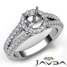 Halo Prong Round Diamond Unique Engagement Semi Mount Ring 14k White Gold 0.75Ct