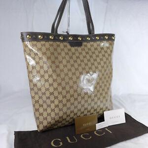 Authentic Gucci Babouska Crystal Brown GG Canvas Large Tote Handbag Purse Ex Con