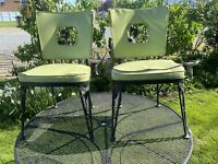 Pair Of Vintage Wrought Iron Woodard Chairs Owosso Michigan