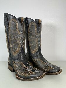 Kids Corral Boots Black Silver Gold Wings And Cross Studs Handmade Size 2 A1032
