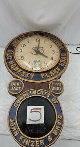 "Jolly Tar Pastime Baird Tobbaco Advertising Clock   30"" x 18.5"""