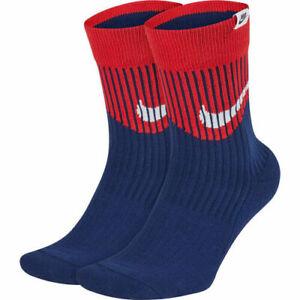 Nike SNKR Sox Swoosh Crew Socks (2-Pack) - Red/White/Blue (L)