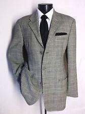 Luxury Emporio Armani Gray Plaid 3 Button Linen/poly / Wool Size 38R