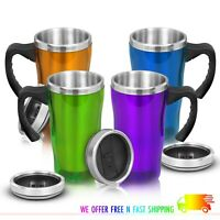 Insulated Coffee Travel Mug Cup with Handle Stainless Steel Modern Tumbler 16oz