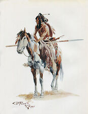 """1903 Charles Russell, Western Art, Indian, Native American Paint Horse, 20""""x16"""""""