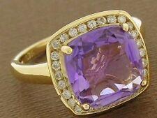 R211 SUPERB 9ct Gold NATURAL Amethyst & Diamond Ring Large Cushion cut size N