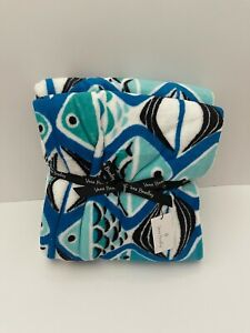 "Vera Bradley Plush Throw Blanket in Fleece Go Fish Blue Oversized 80"" x 50"" NWT"