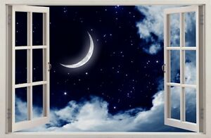 3D Effect Window MOON NIGHT WALL STICKERS decorative sticker to the room 49