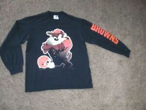 Vintage 90s Looney Tunes TAZ Cleveland Browns long sleeve shirt men's Small ythL