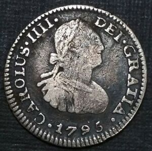 1795 FM Mexico 1/2 Real Milled Bust King Charles IIII US Colony Silver Cob Coin