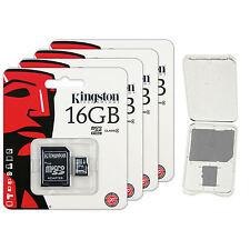 Lot of 4 Kingston 16GB Micro SD SDHC Class 4 microSD Flash Memory Card + CASE