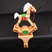 Hallmark Rocking Horse Stocking Hanger Babys First Christmas QSH8121 Vntage 1984