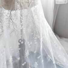 Snowflake Lace Fabric Embroidered Mesh Wedding Dress Bridal Veil Tulle White