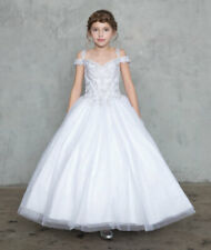 White First Communion Long Dress Size 8 Flower Glitter Gown Princess Wedding New