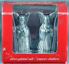 Christmas Angels Silver Plated Salt & Pepper Shakers NIB