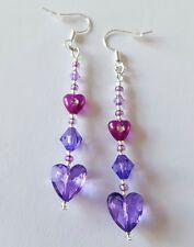 New Handmade Purple Acrylic Heart Clear Round Seed Beaded Dangle Drop Earrings