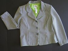 Hounds Tooth Blazer Women'd by Petite Perceptions 12P Jacket Black White Green