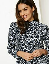 M&S PER UNA ANIMAL PRINT HIGH NECK BLOUSE