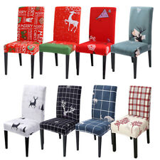 Stretch Elk Dining Chair Cover Spendex Seat Slipcover Christmas Protective Cover
