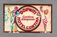 vintage luggage label Hotel  label   HOTEL  CORTINA  Cortina d`Ampezzo