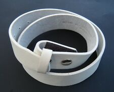 White Genuine Cowhide Leather Snap On Belt Strap For Belts Buckles Large