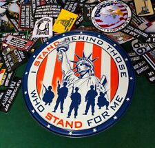 Stand For Statue of Liberty America Patriotic Metal Sign Tin W/ FREE PATCH USA