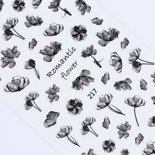 Flower 3D Nail Stickers Black Ink Painting Adhesive Nail Art Transfer Decals