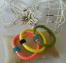 3 Leather Bracelet Wristband Cuff Punk Magnetic Rhinestone Buckle Bangle USA