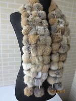 Winter fashion warm genuine rabbit fur ball scarf shawl for women real fur wraps