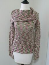 H&M Divided Womens Green Pink Cow Neck Crochet Sweater Size 8- NWT