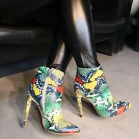 Sexy Women High Heels Ankle Boots Pointy Toe Zip Shoes Stiletto Clubwear Booties