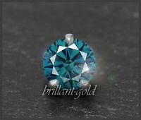 Brillant Diamant 585 Gold Anhänger 0,35ct, blaugrün, VS2; Weißgold Damenanhänger