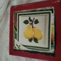 New In Box Hand Painted Ceramic Trivet Tile / Pears