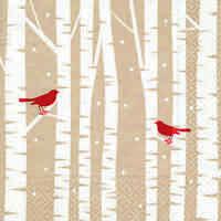 *20 Servietten*Weihnachten*Winter*Red birds*2 rote Vögel auf verschneite Zweige*